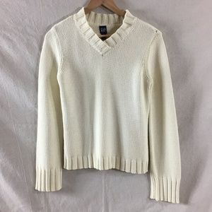 GAP Chunky Cable Knit V-Neck Cream Cotton Sweater